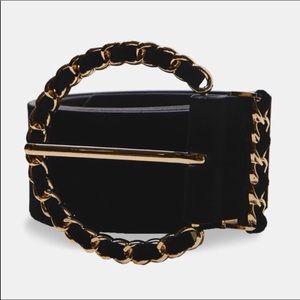 Zara Women's Belt Black Velvet Gold Chain NEW